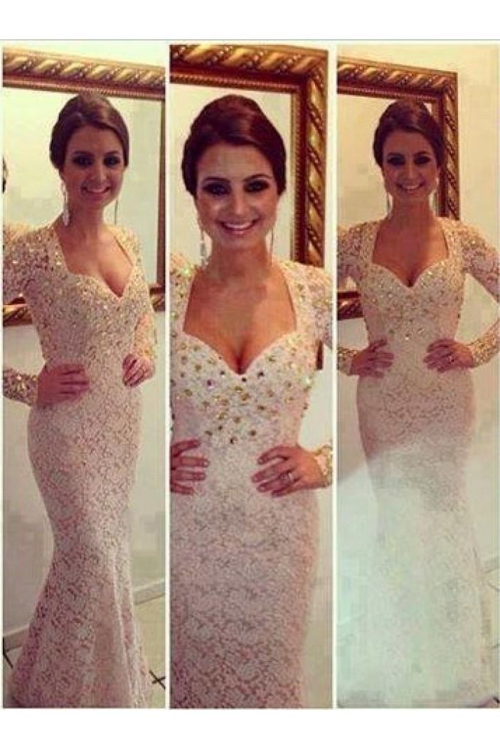 Trumpet/Mermaid Beaded Long Sleeves Prom Evening Formal Dresses 3020030