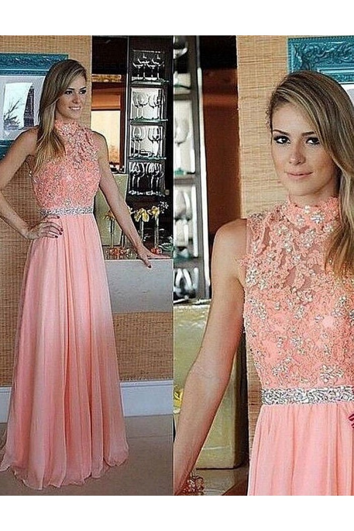Beaded Chiffon Lace High Neck Long Prom Evening Formal Dresses 3020031