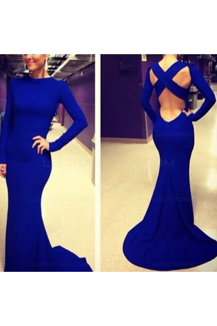 Trumpet/Mermaid Long Sleeve Blue Prom Evening Formal Dresses 3020032