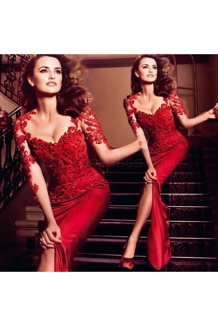 Sexy Trumpet/Mermaid Long Sleeve Red See Through Prom Evening Formal Dresses 3020033