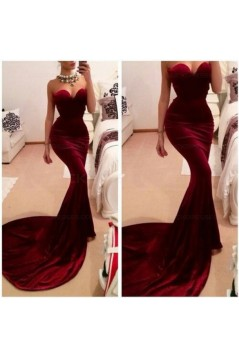 Trumpet/Mermaid Sweetheart Long Red Prom Evening Formal Dresses 3020036