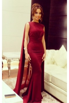 Trumpet/Mermaid Long Red Prom Evening Formal Dresses 3020041