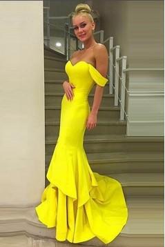 Mermaid Long Yellow Prom Evening Formal Dresses 3020044