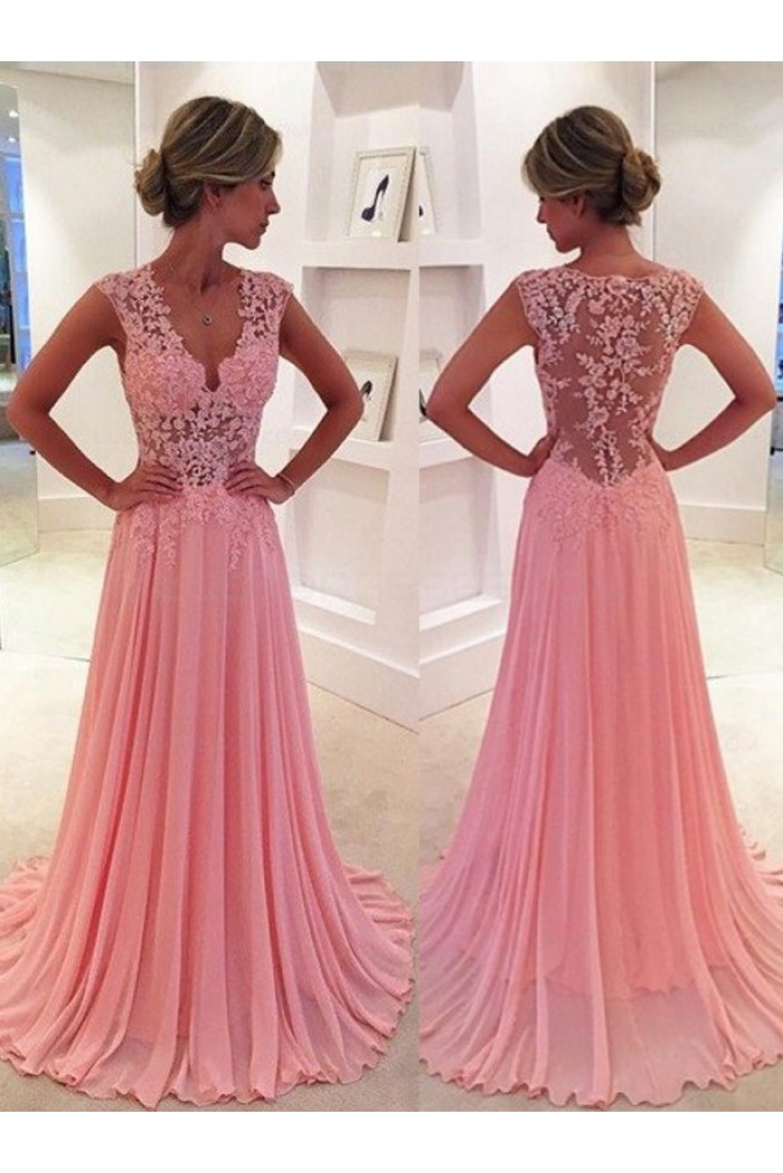 A-Line V-Neck Chiffon Lace Long Pink Prom Evening Formal Dresses 3020047