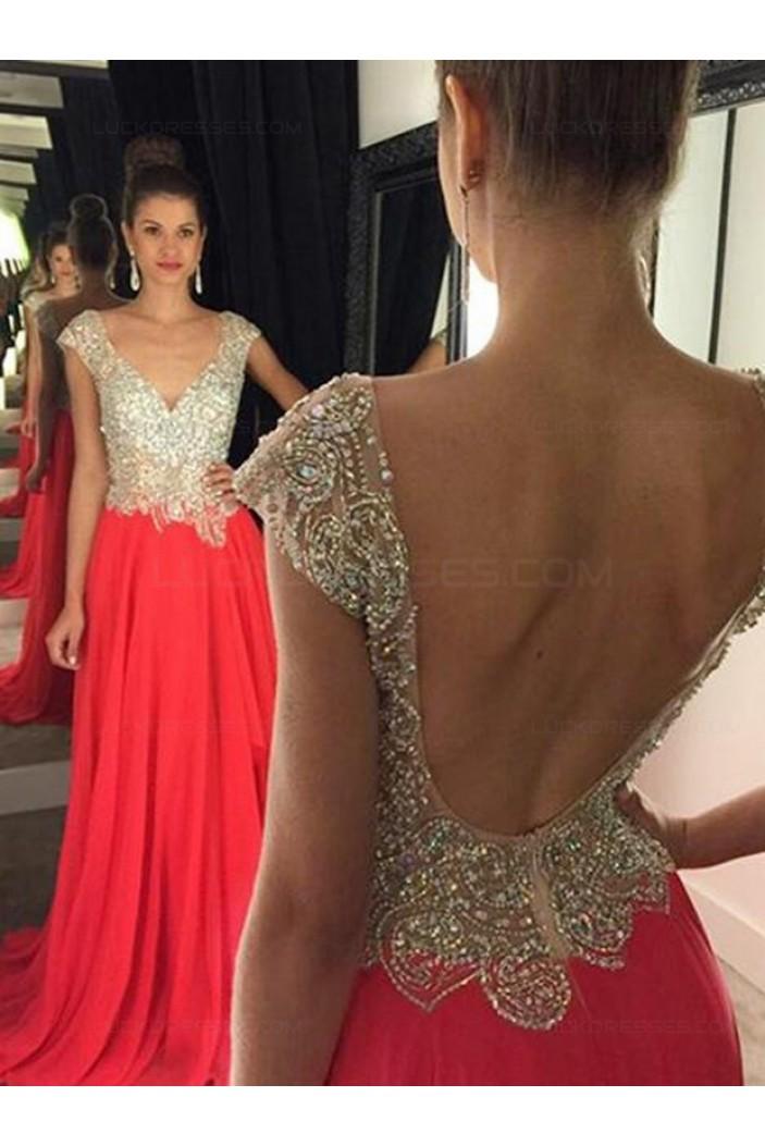 Long Beaded Chiffon Backless Prom Evening Formal Dresses 3020048