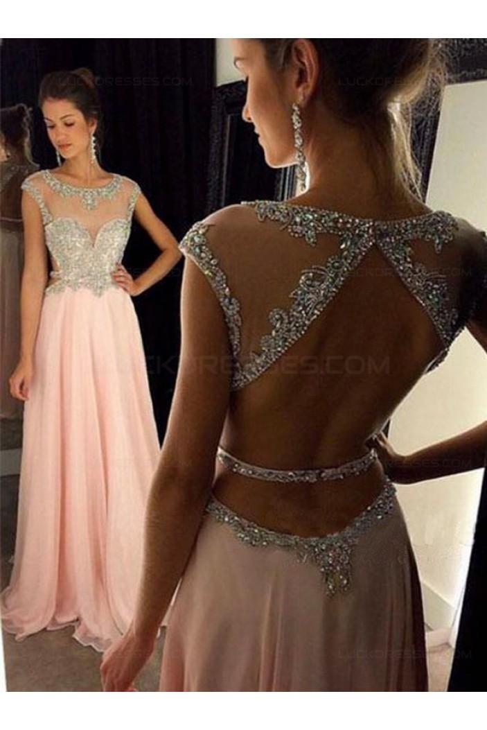 Long Pink Beaded Chiffon Prom Evening Formal Dresses 3020049