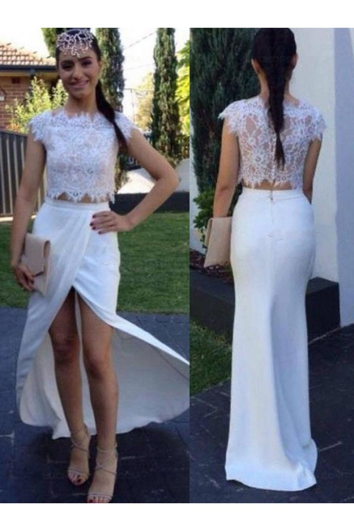 Two Pieces White Lace Long Prom Evening Formal Dresses 3020050
