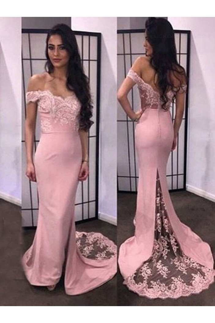 Trumpet/Mermaid Off-the-Shoulder Lace Long Prom Evening Formal Dresses 3020053