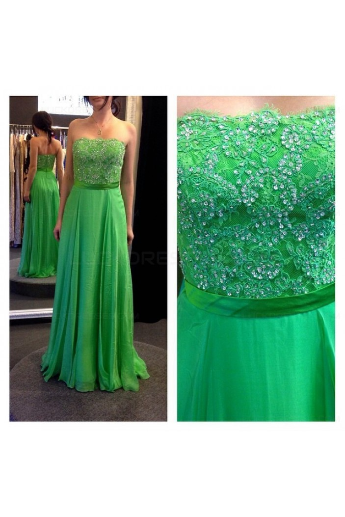 A-Line Strapless Beaded Lace Chiffon Long Green Prom Evening Formal Dresses 3020055