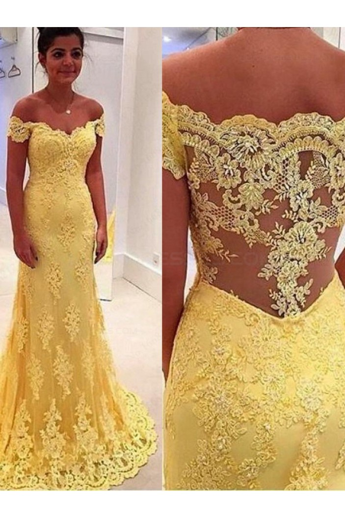 Off-the-Shoulder Lace Long Yellow Prom Evening Formal Dresses 3020061