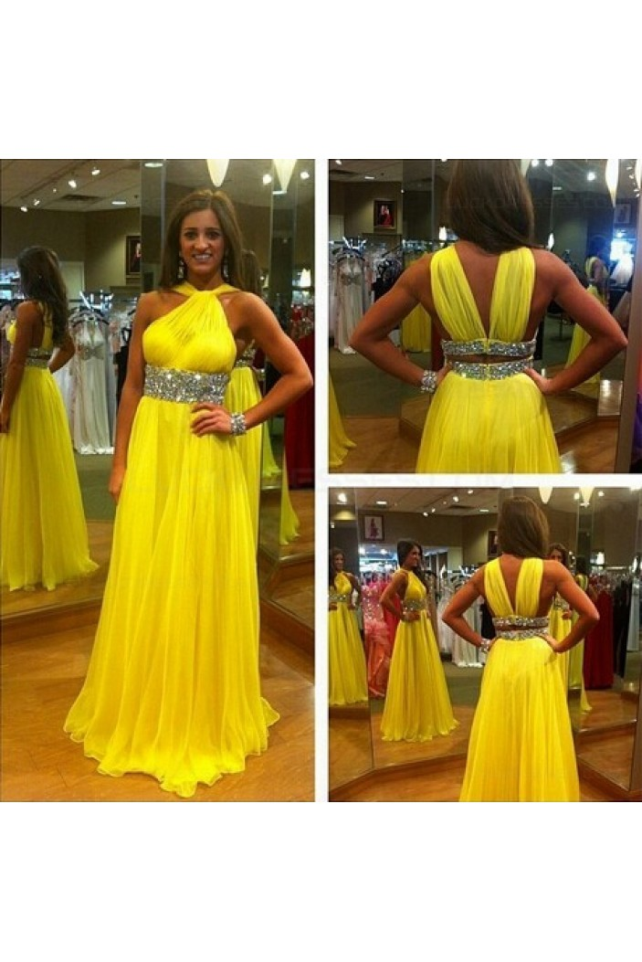 Long Yellow Beaded Chiffon Prom Evening Formal Dresses 3020063