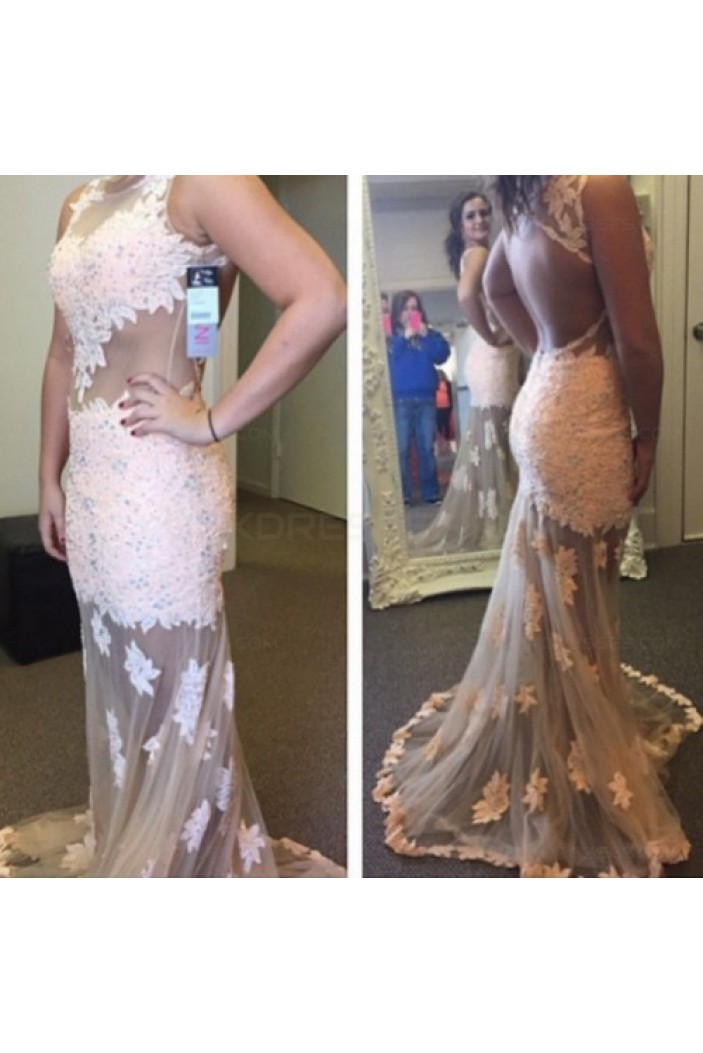 Sexy See Through Lace Appliques Long Prom Evening Formal Dresses 3020064