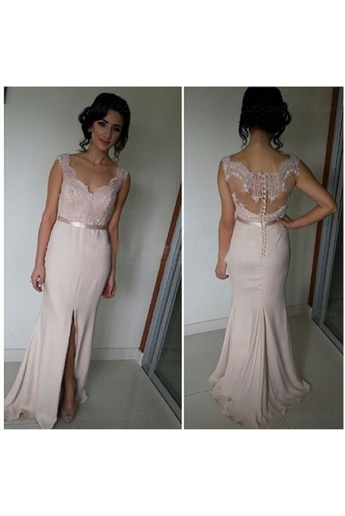Trumpet/Mermaid Straps Sleeveless Lace Prom Evening Formal Dresses 3020065