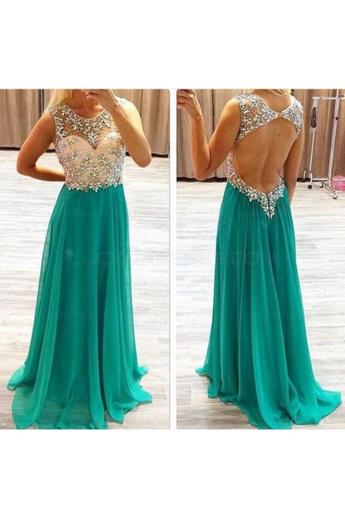 Beaded Green Chiffon Keyhole Back Long Prom Evening Formal Dresses 3020069