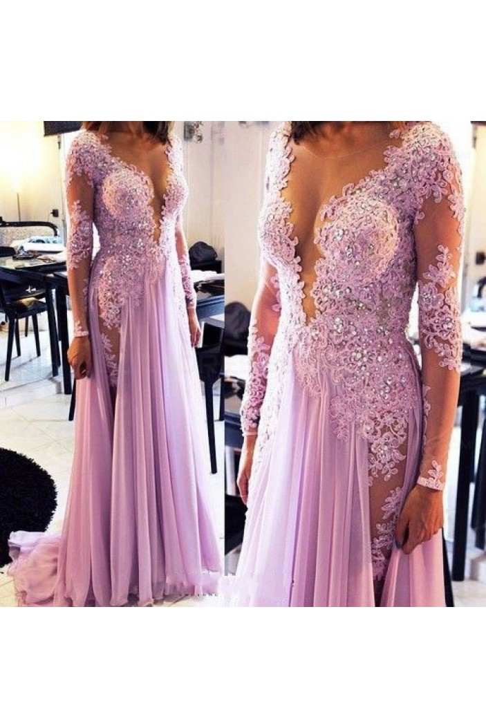 Sexy Long Sleeves Lilac Lace Appliques Chiffon See Through Prom Evening Formal Dresses 3020071