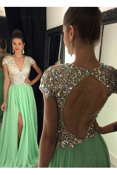 Mint Green Chiffon Beaded Sequins Keyhole Back Long Prom Evening Formal Dresses 3020073