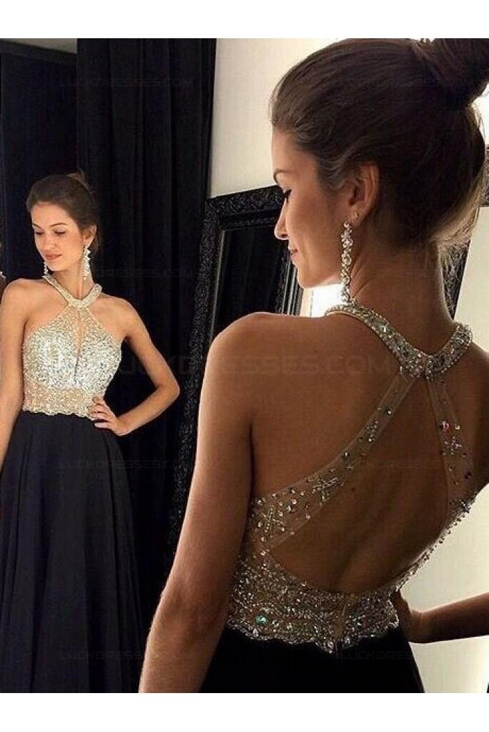 Beaded Long Black Prom Evening Formal Dresses 3020074