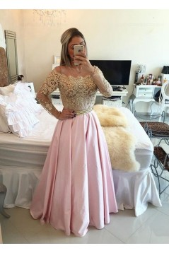 Long Sleeves Off-the-Shoulder Gold Beaded Lace Pink Prom Evening Formal Dresses 3020075