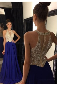 Beaded Long Red Chiffon Prom Evening Formal Dresses 3020078