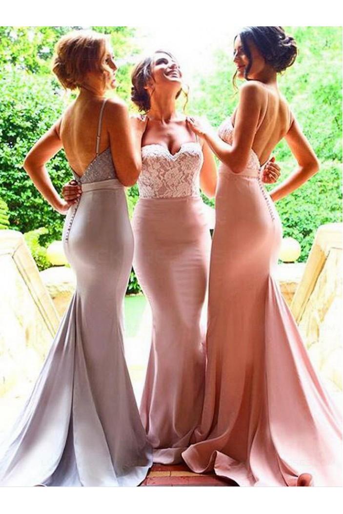 Trumpet/Mermaid Spaghetti Straps Lace Long Prom Evening Formal Bridesmaid Dresses 3020080