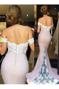 Trumpet/Mermaid Off-the-Shoulder Lace Long Prom Evening Formal Bridesmaid Dresses 3020081