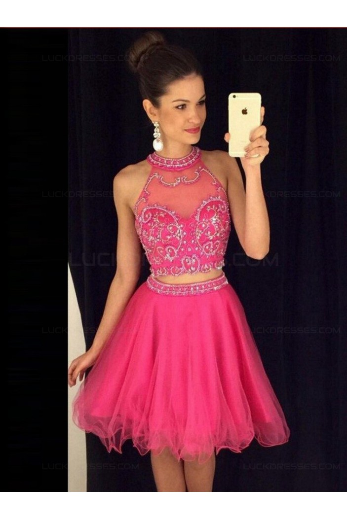 Two Pieces Hot Pink Beaded Prom Evening Formal Dresses 3020084