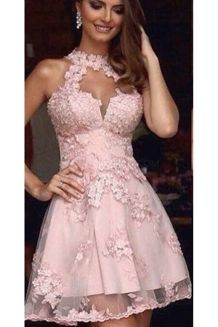 A-Line Short Pink Lace Prom Evening Cocktail Homecoming Dresses 3020085
