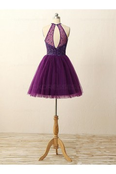 A-Line Short Sequins Purple Prom Evening Bridesmaid Cocktail Homecoming Dresses 3020088