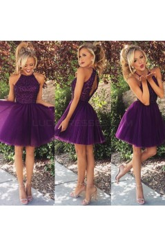 A-Line Short Beaded Purple Prom Evening Bridesmaid Cocktail Homecoming Dresses 3020090