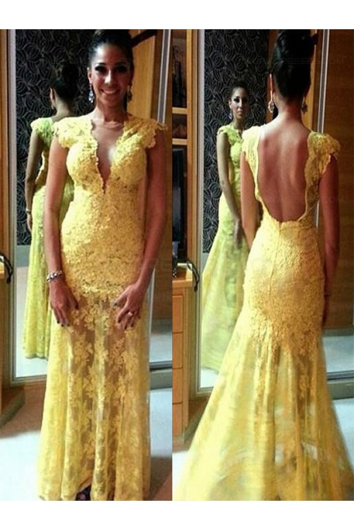 Long Yellow Lace Prom Evening Formal Dresses 3020091
