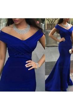 Trumpet/Mermaid Off-the-Shoulder Long Royal Blue Prom Evening Formal Dresses 3020095
