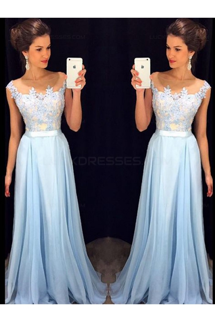 Long Blue Lace Chiffon See Through Prom Evening Formal Dresses 3020097
