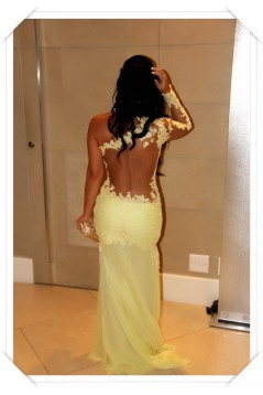 One Sleeve Long Yellow Lace Appliques See Through Prom Evening Formal Dresses 3020100