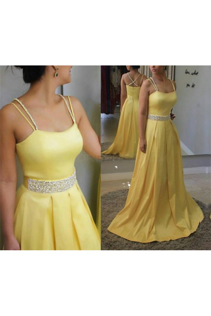 Long Yellow Beaded Spaghetti Straps Prom Formal Evening Party Dresses 3021000