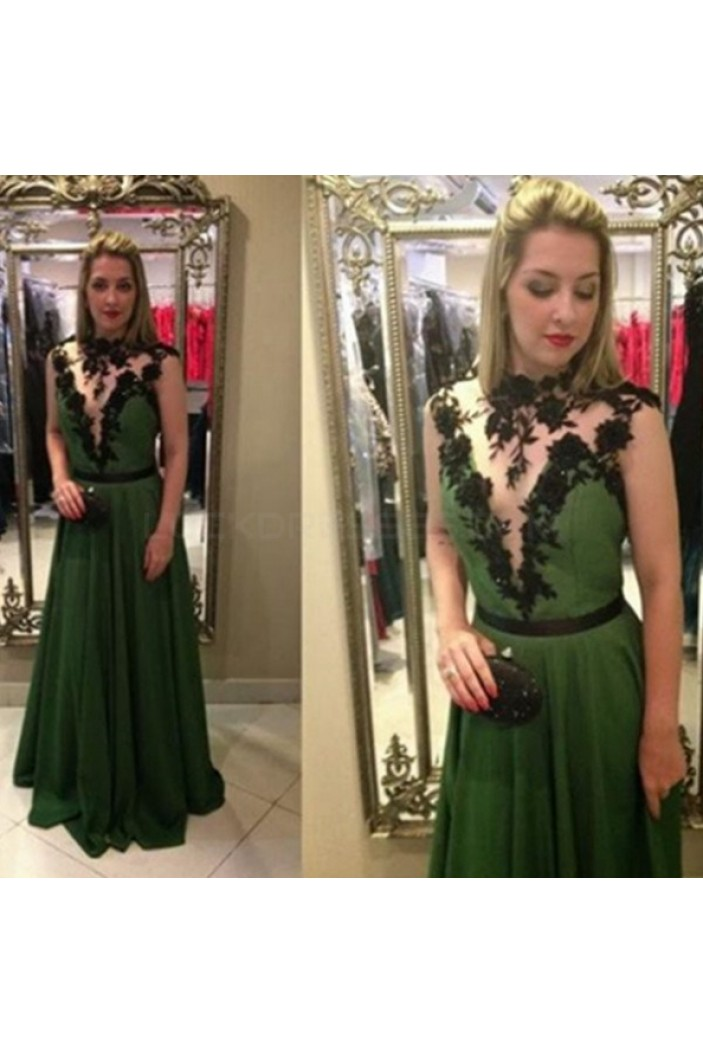 Long Green Chiffon Black Lace Appliques Prom Formal Evening Party Dresses 3021003