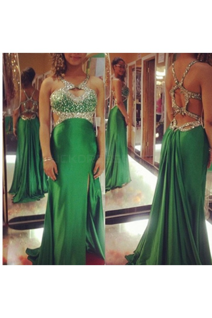 Long Green Beaded Prom Formal Evening Party Dresses 3021004