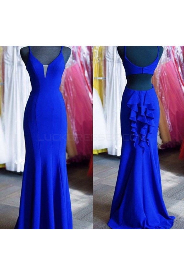 Mermaid Long Blue Prom Formal Evening Party Dresses 3021007