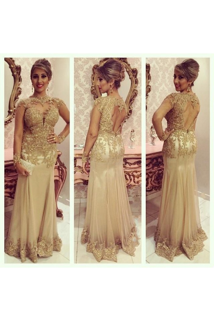 Mermaid Keyhole Back Lace Appliques Long Prom Formal Evening Party Dresses 3021010