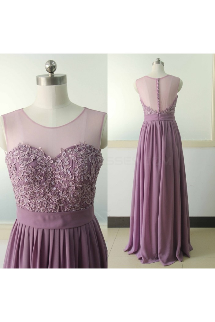 A-Line Lace Appliques Chiffon Prom Formal Evening Party Dresses 3021012