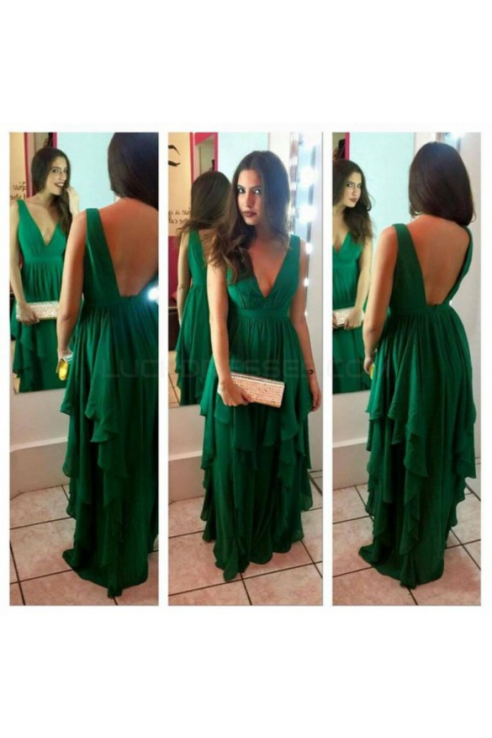 Long Green V-Neck Chiffon Prom Formal Evening Party Dresses 3021015