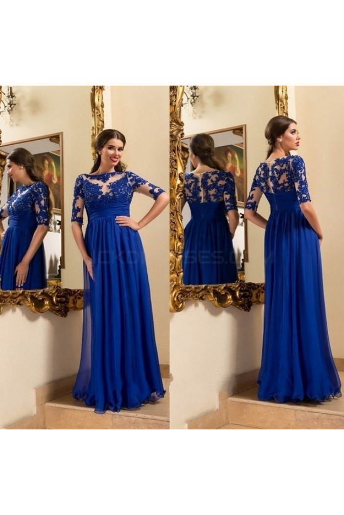 Long Royal Blue Lace Appliques and Chiffon Prom Formal Evening Party Dresses 3021017