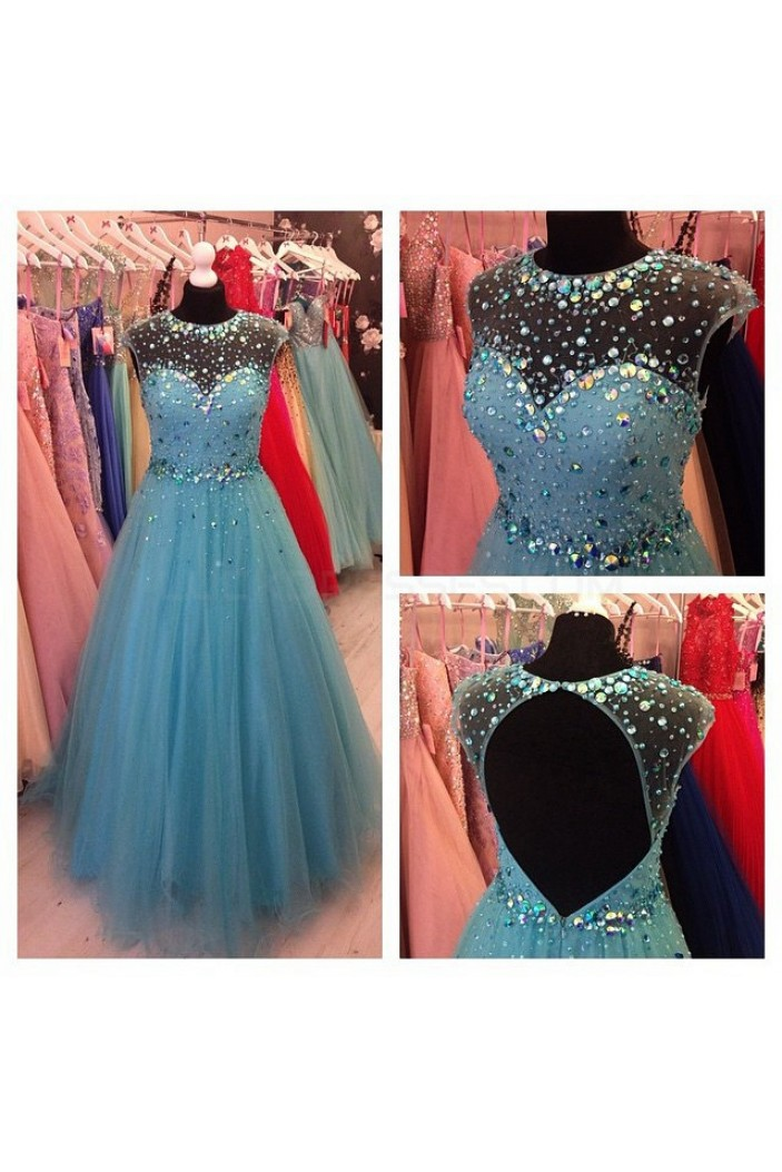 Beaded Tulle Long Prom Formal Evening Party Dresses 3021020