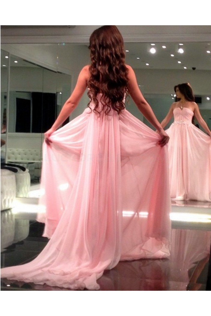 Long Pink Chiffon Prom Formal Evening Party Dresses 3021027