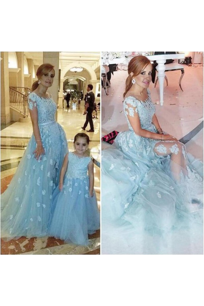 Long Blue Tulle Ball Gown Lace Prom Formal Evening Party Dresses 3021029