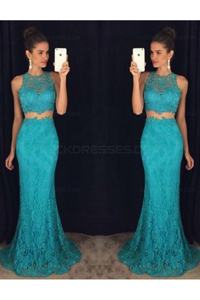 Trumpet/Mermaid Two Pieces Long Blue Lace Prom Evening Formal Dresses 3020103