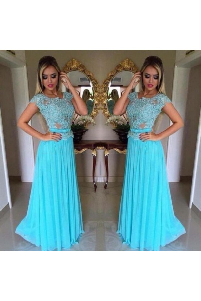 Long Blue Lace Appliques and Chiffon Prom Formal Evening Party Dresses 3021030