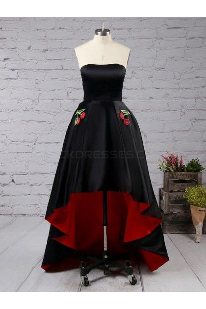 High Low Strapless Black Red Prom Homecoming Cocktail Graduation Dresses 3021033