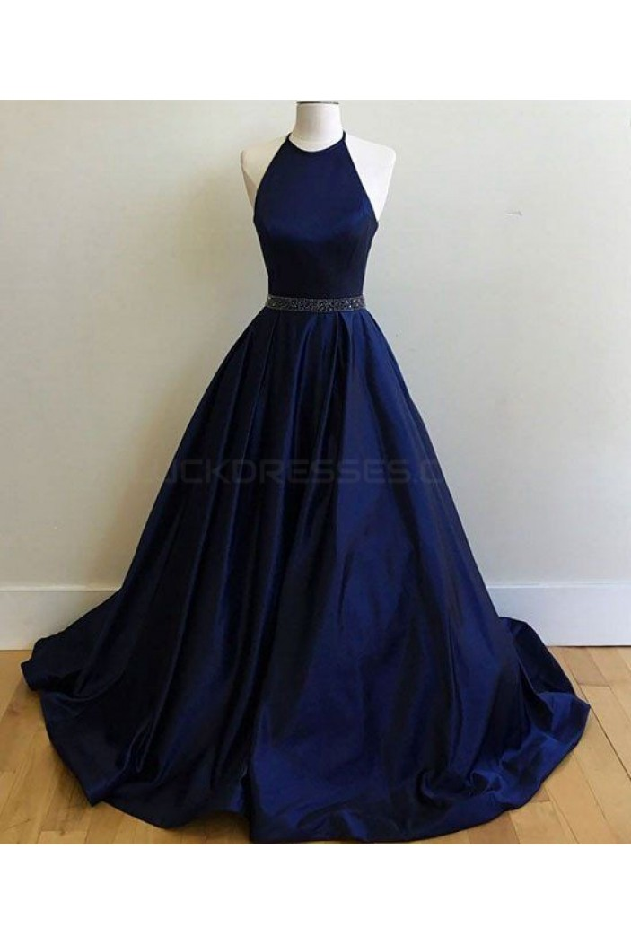 Long Blue Beaded Halter Prom Formal Evening Party Dresses 3021037