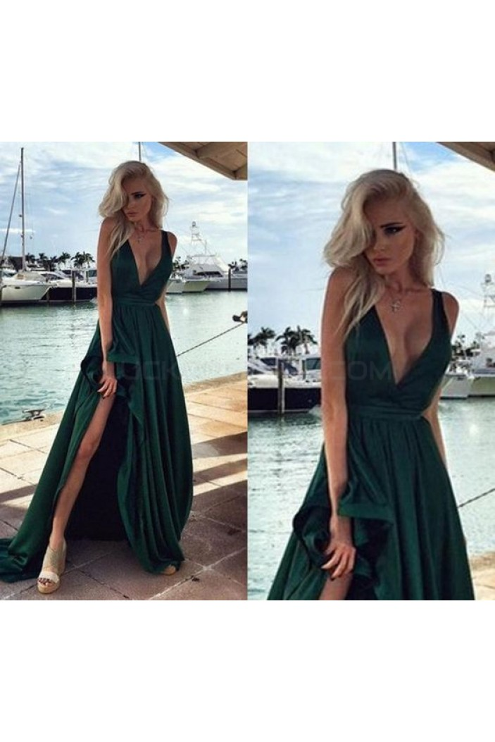 Deep V-Neck Long Prom Formal Evening Party Dresses 3021038