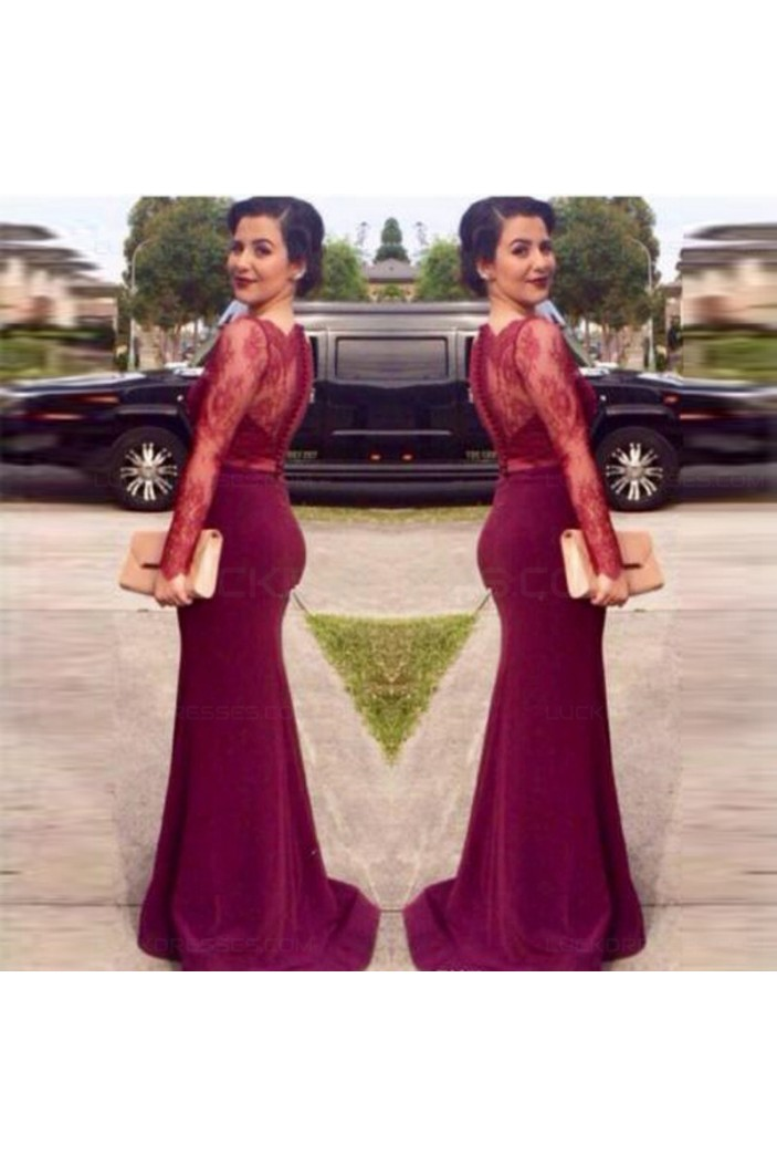 Trumpet/Mermaid Long Sleeves Red Lace Prom Evening Formal Dresses 3020104